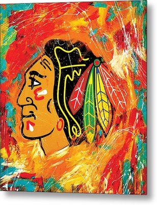 Chicago Blackhawks Logo Metal Print by Elliott From