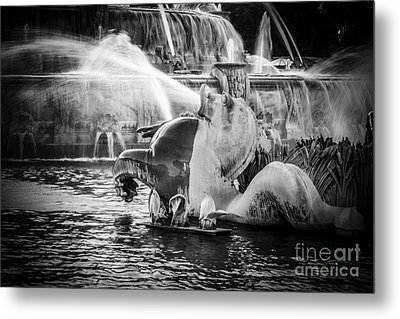 Chicago Buckingham Fountain Seahorse In Black And White Metal Print by Paul Velgos