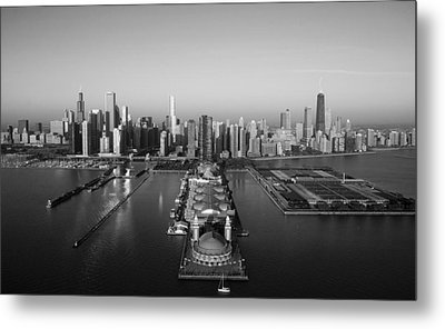 Chicago By Air Bw Metal Print by Jeff Lewis