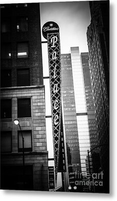 Chicago Cadillac Palace Theatre Sign In Black And White Metal Print