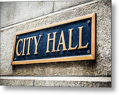 Chicago City Hall Sign Metal Print by Paul Velgos