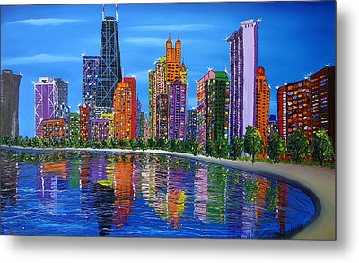 Chicago City Lights #1 Metal Print by Portland Art Creations