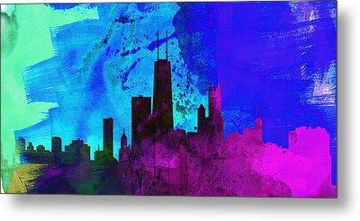 Chicago City Skyline Metal Print by Naxart Studio