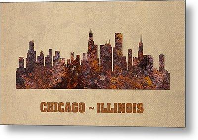 Chicago City Skyline Rusty Metal Shape On Canvas Metal Print