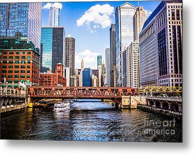 Chicago Cityscape At Wells Street Bridge Metal Print