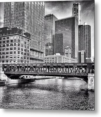 Wells Street Bridge Chicago Hdr Photo Metal Print by Paul Velgos