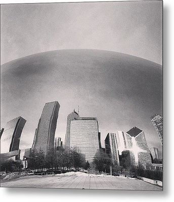 Cloud Gate Chicago Skyline Reflection Metal Print