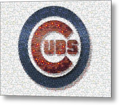 Chicago Cubs Mosaic Metal Print