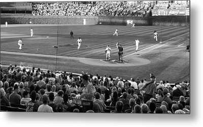 Chicago Cubs On The Defense Metal Print by Thomas Woolworth