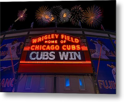 Chicago Cubs Win Fireworks Night Metal Print by Steve Gadomski