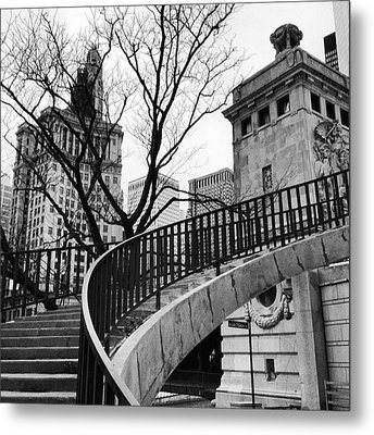 Chicago Staircase Black And White Picture Metal Print
