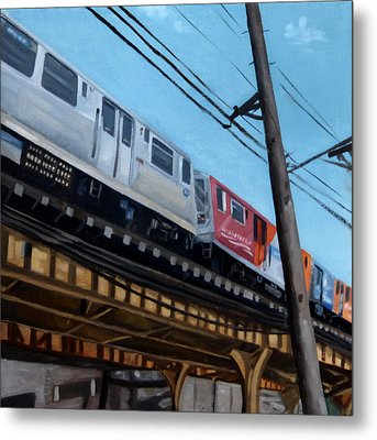 Chicago El Train Blue Line Metal Print