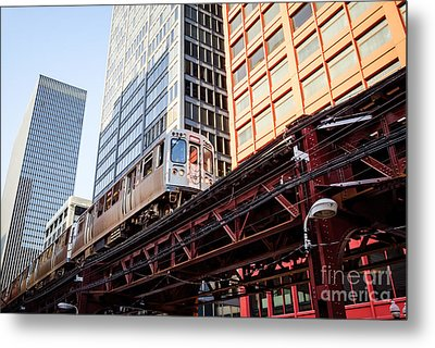 Chicago Elevated L Train With Downtown Buildings Metal Print