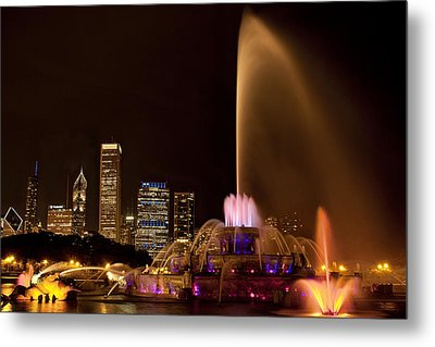 Chicago Fountain At Night Metal Print by Andrew Soundarajan