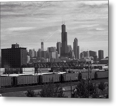Chicago From Train Yard Metal Print by Chris Flees