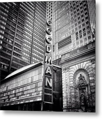 Chicago Goodman Theatre Sign Photo Metal Print by Paul Velgos
