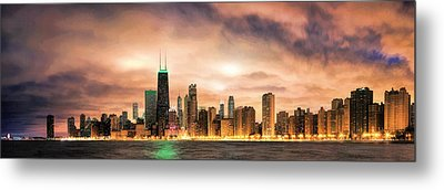 Chicago Gotham City Skyline Panorama Metal Print