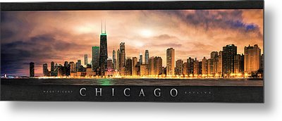 Chicago Gotham City Skyline Panorama Poster Metal Print