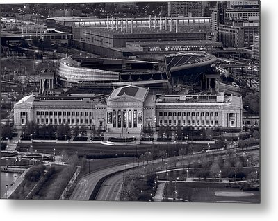 Chicago Icons Bw Metal Print