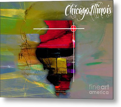 Chicago Illinois Map Watercolor Metal Print by Marvin Blaine