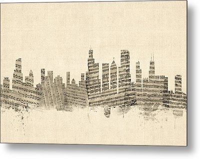 Chicago Illinois Skyline Sheet Music Cityscape Metal Print by Michael Tompsett