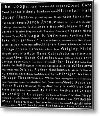 Chicago In Words Black Metal Print