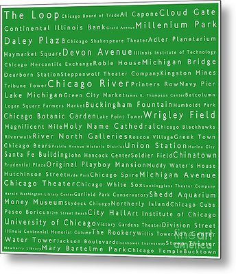 Chicago In Words Green Metal Print