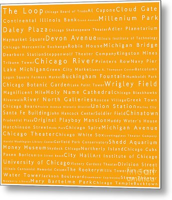 Chicago In Words Orange Metal Print