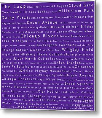 Chicago In Words Purple Metal Print