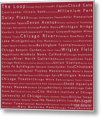 Chicago In Words Red Metal Print