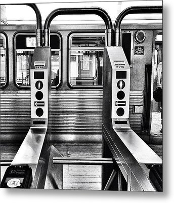 Chicago L Train Gate In Black And White Metal Print