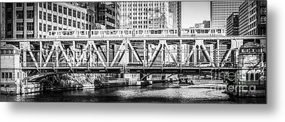 Chicago Lake Street Bridge L Train Black And White Picture Metal Print