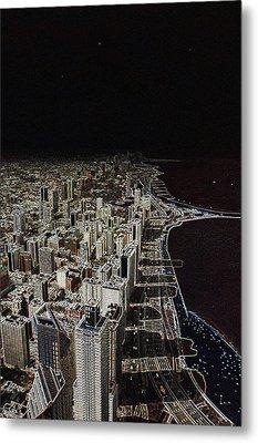 Chicago Lakefront Aglow Metal Print