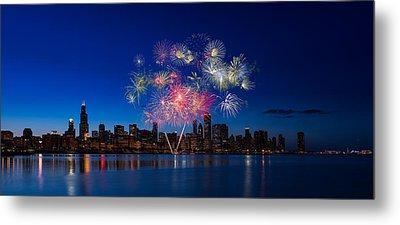Chicago Lakefront Fireworks Metal Print by Steve Gadomski