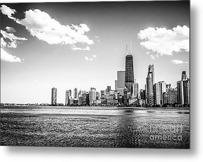 Chicago Lakefront Skyline Black And White Picture Metal Print by Paul Velgos