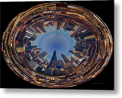 Chicago Looking East Polar View Metal Print by Thomas Woolworth