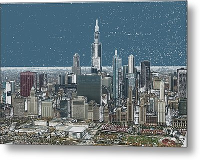 Chicago Looking West In A Snow Storm Digital Art Metal Print by Thomas Woolworth