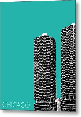 Chicago Skyline Marina Towers - Teal Metal Print