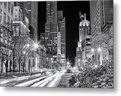 Chicago Michigan Avenue Light Streak Black And White Metal Print
