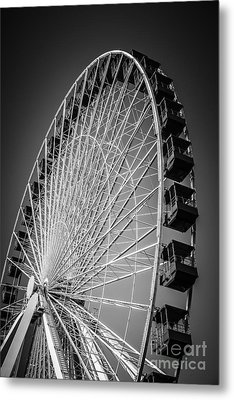 Chicago Navy Pier Ferris Wheel In Black And White Metal Print by Paul Velgos