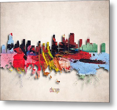 Chicago Painted City Skyline Metal Print