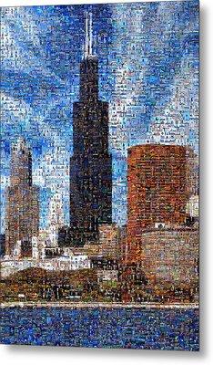Chicago Photo Mosaic Metal Print by Wernher Krutein
