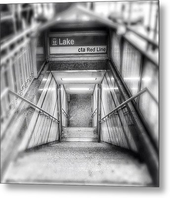 Chicago Lake Cta Red Line Stairs Metal Print by Paul Velgos