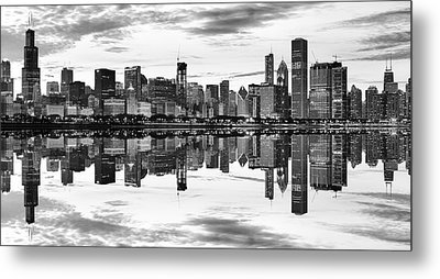 Chicago Reflection Panorama Metal Print by Donald Schwartz
