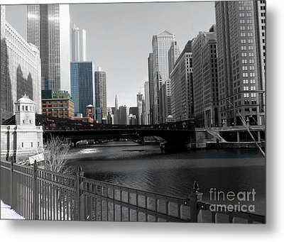 Chicago River At Franklin Street Metal Print by David Bearden