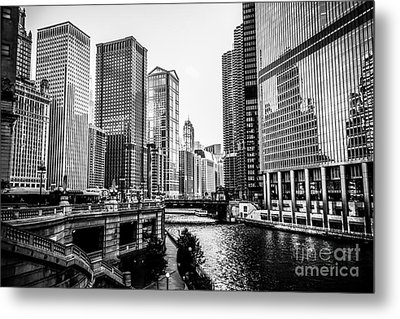 Chicago River Buildings In Black And White Metal Print