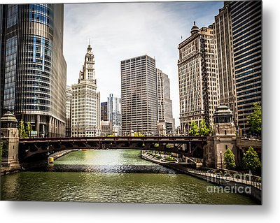 Chicago River Skyline At Wabash Avenue Bridge Metal Print by Paul Velgos