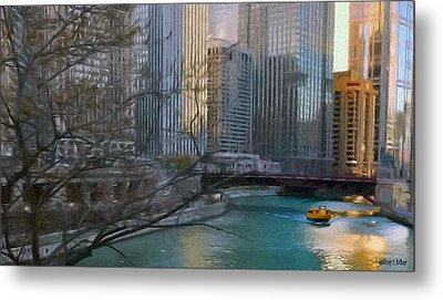 Chicago River Sunset Metal Print by Jeff Kolker