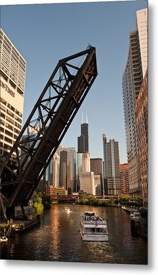 Chicago River Traffic Metal Print by Steve Gadomski