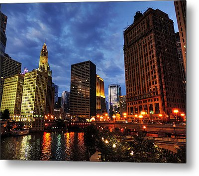 Chicago River Twilight 002 Metal Print